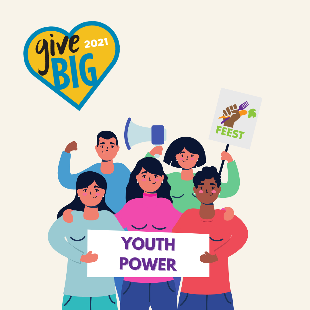 "Illustration of youth holding a sign that says ""youth power"""